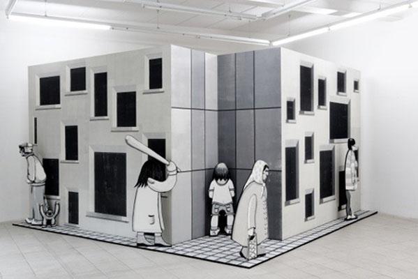 Außen- und Innenansichten. Holzschnitte von Jan Brokof und Susanne Hanus
